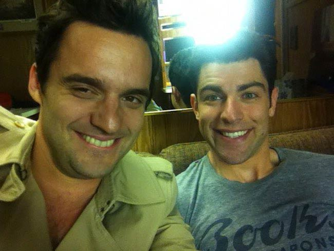 "Jake Johnson with his ""New Girl"" co-star Max Greenfield (Right) in 2018"