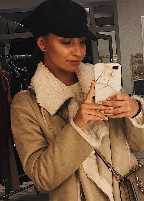 Julia Wieniawa in a selfie in January 2018