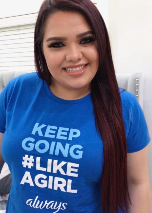 Karina Garcia promoting Always brand in an Instagram post as seen in October 2017