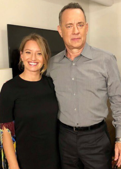 Katy Tur and Tom Hanks as seen in December 2017