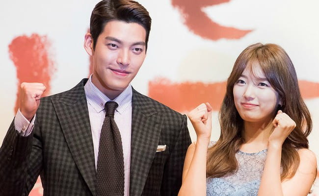 Kim Woo-bin and and Bae Suzy at Uncontrollably Fond press conference in July 2016