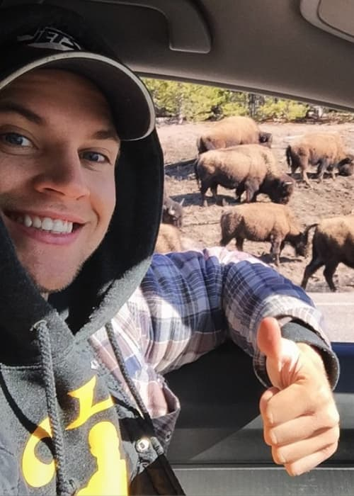 Marshall Williams in a selfie at Yellowstone National Park in April 2015