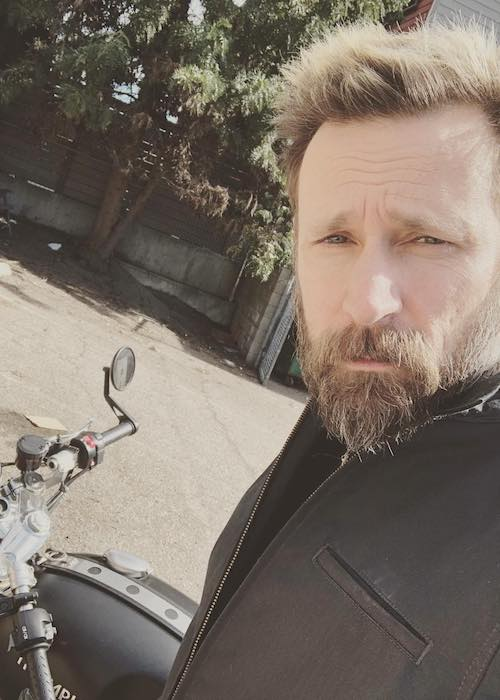 Mike Dirnt with his Triumph bike in February 2018