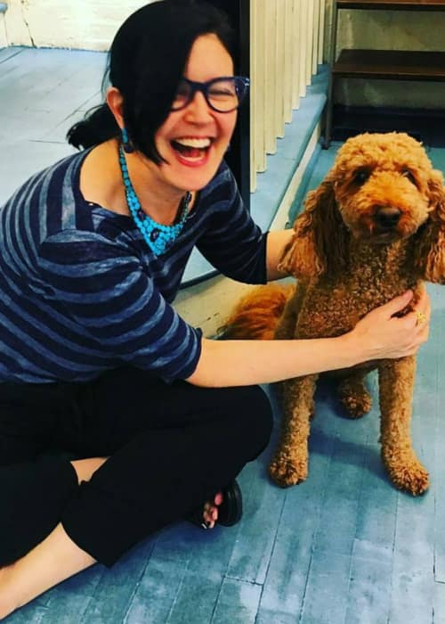 Phoebe Cates with a dog as seen in July 2017