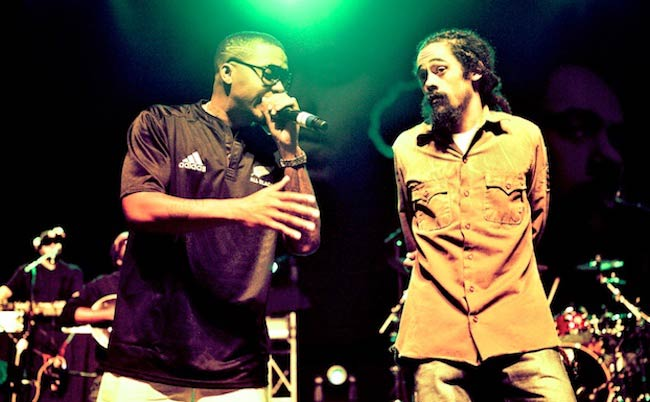 Rapper Nas and Damian Marley performing in Wellington, New Zealand in 2011