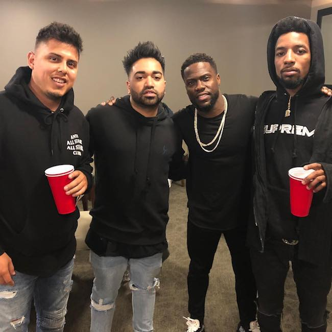 Rockie Fresh (Extreme Right) with (From Left) Josh Salas, Daniel George, and Kevin Hart in 2018