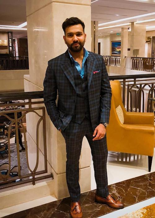 Rohit Sharma wearing Troy Costa suit and Voganow shoes as seen in March 2018