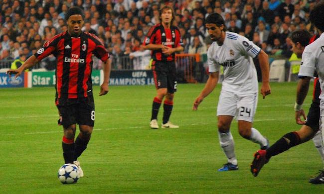 Ronaldinho (Left) and Sami Khedira during Real Madrid CF-AC Milan match during 2010-2011 UEFA Champions League