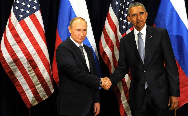 Russian President Vladimir Putin and President of the United States Barack Obama during a meeting in September 2015