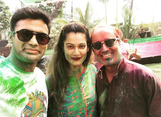 Sangram Singh and wife Payal Rohatgi during Holi festival in March 2018