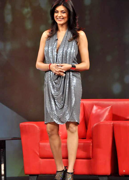 Sushmita Sen at Raveena's chat show for NDTV in April 2012