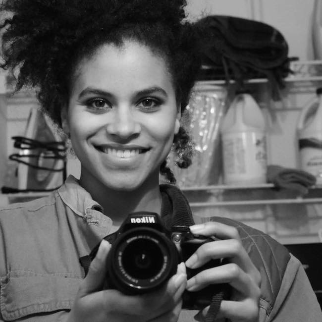 Zazie Beetz with her Nikon camera in April 2016