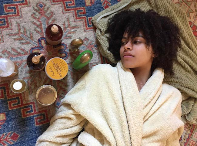 Zazie Beetz with her cosmetic products in an Instagram selfie in April 2017