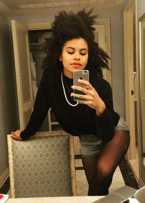 Zazie Beetz's hotel room selfie in August 2017