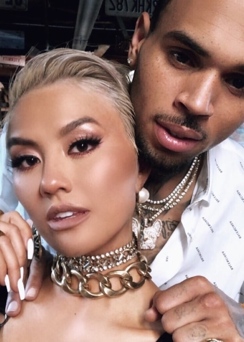 Agnez Mo posing in an Instagram selfie with Chris Brown in My 2018