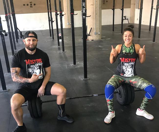 Bayley with her CrossFit instructor Josh Gallegos in March 2018 in Chicago