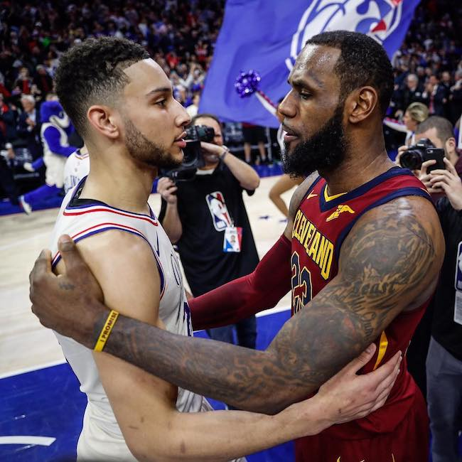 Ben Simmons and LeBron James in April 2018