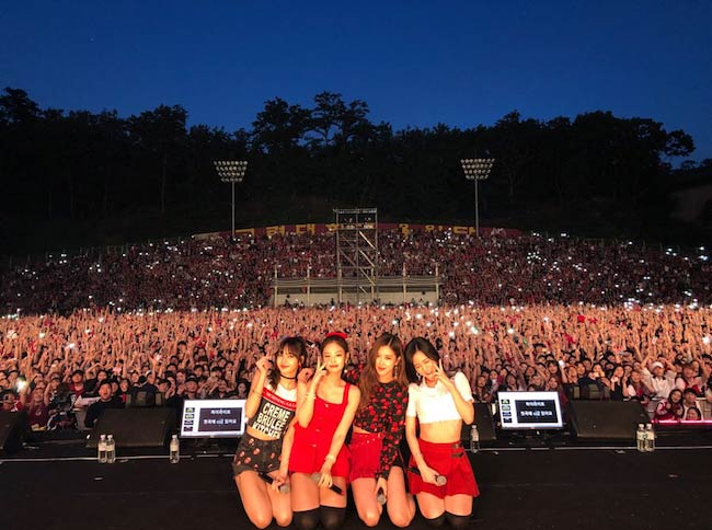 Black Pink girl band while performing in 2018