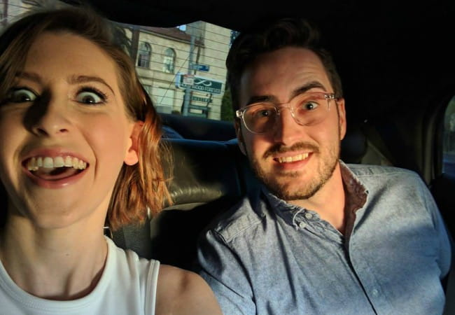 Eden Sher and Nick Cron-DeVico in a selfie in April 2017