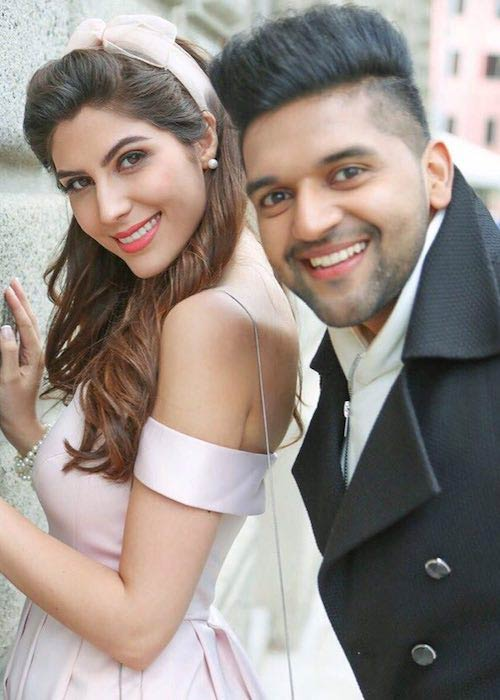 Elnaaz Norouzi with Guru Randhawa after getting cast in his song Made In India in 2018