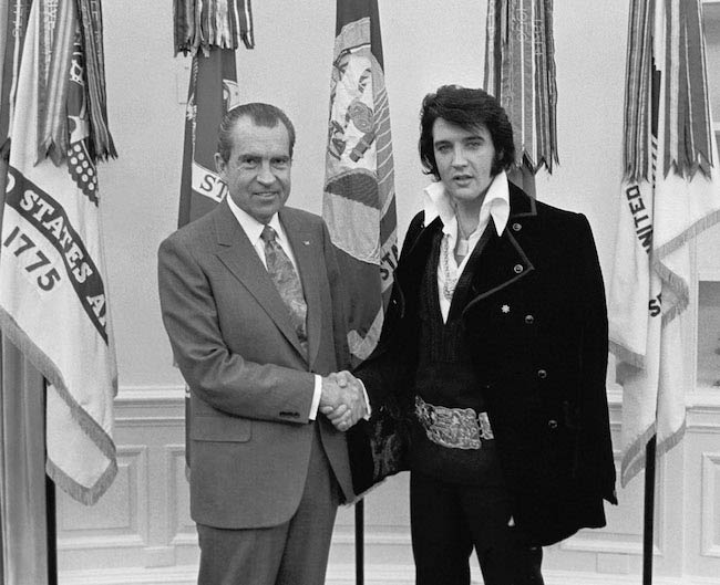 Elvis Presley during a meet with 37th US President Richard Nixon in 1970