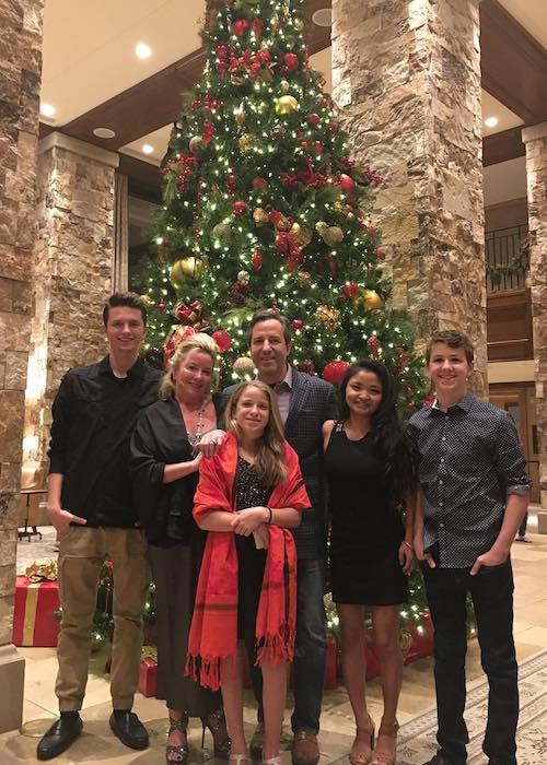Ethan Wacker with family wishing everyone Merry Christmas in December 2017