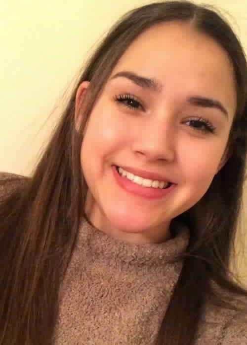 Gracie Haschak in a selfie in January 2018