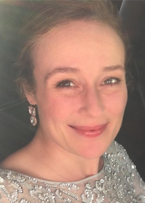 Jennifer Ehle in an Instagram selfie while on her way to Radio City in June 2017