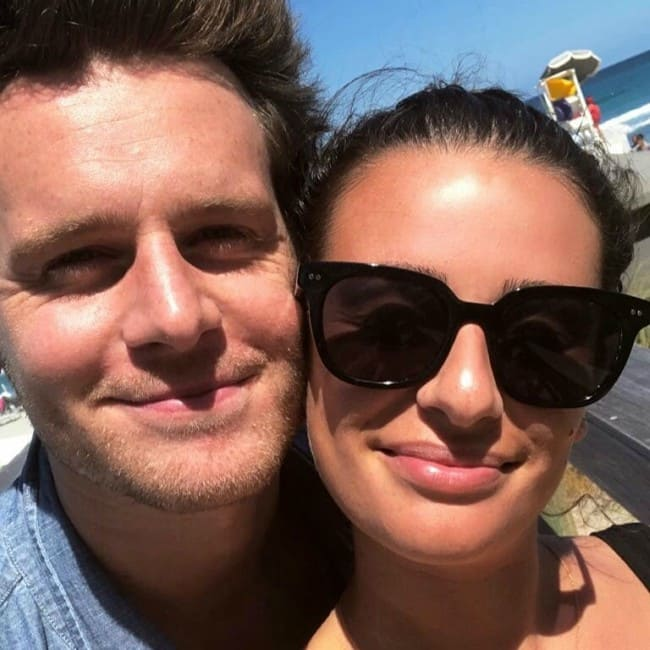 Jonathan Groff and Lea Michele in a selfie in April 2018