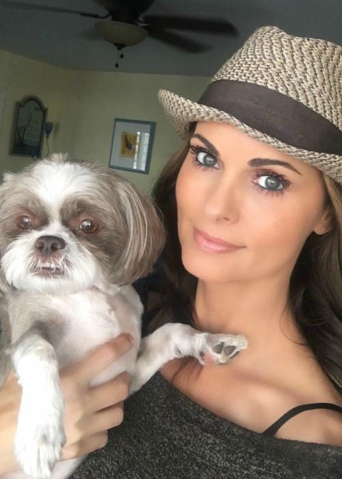 Karen McDougal with her dog as seen in May 2018
