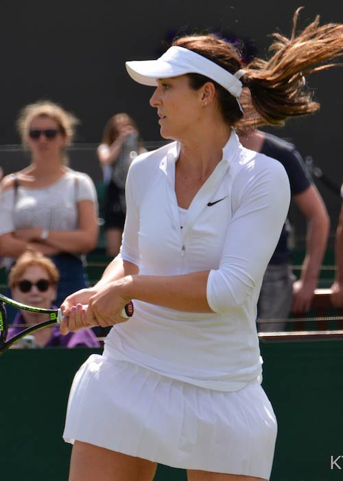 Laura Robson playing a shot during a match in July 2016