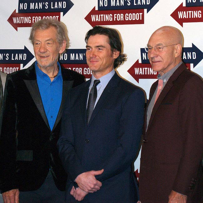 (Left to Right) Actors Ian McKellen, Billy Crudup and Patrick Stewart in September 2013 at Sardi's restaurant in Manhattan's theater district for the Broadway shows Waiting for Godot and No Man's Land