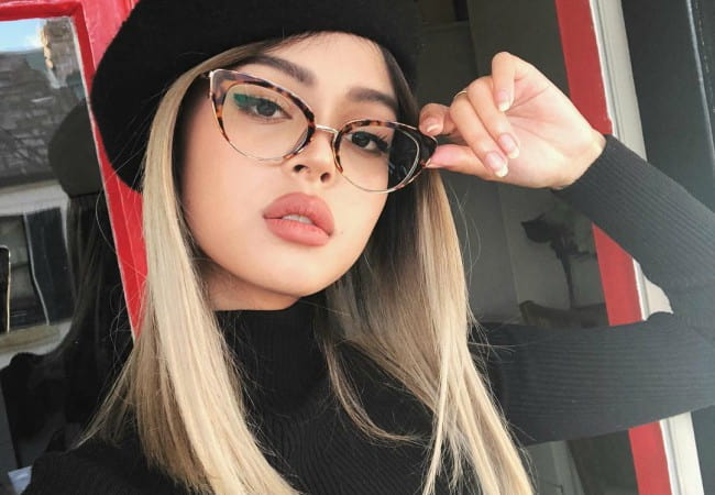 Lily Maymac promoting Oscar Wylee Eyewear in a selfie in May 2018