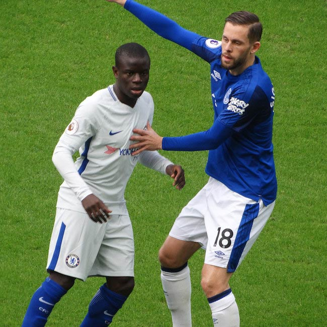 N'Golo Kante during a match between Everton and Chelsea in December 2017