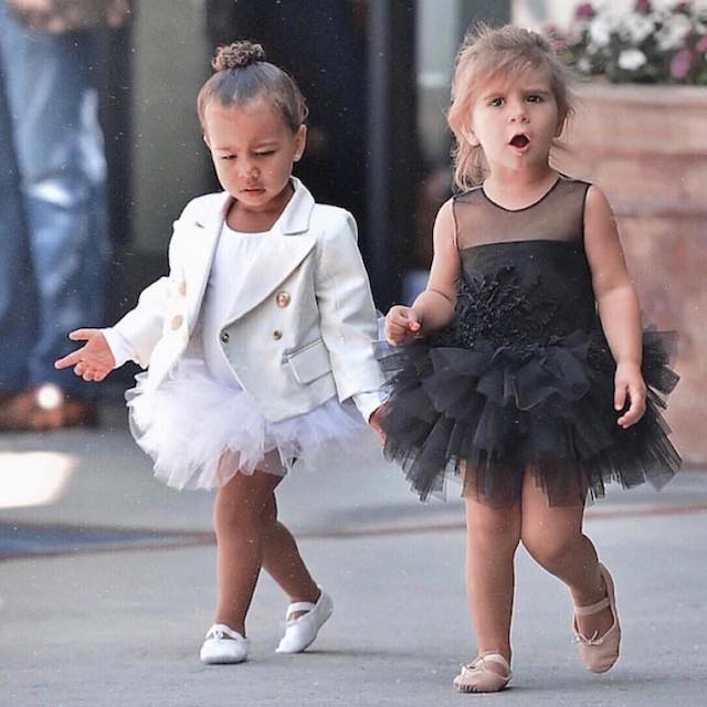 North West (Left) with her cousin Penelope Disick in January 2017