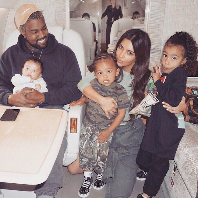 North West with her father Kanye mother Kim and siblings in April 2018
