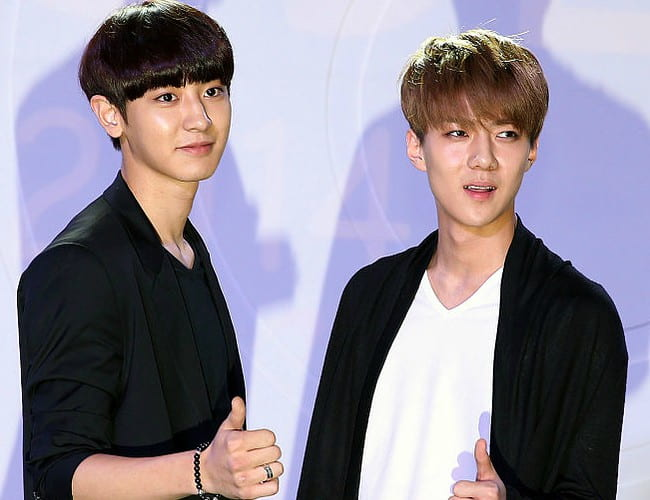 Oh Se-hun (Right) and Park Chanyeol as seen in July 2014