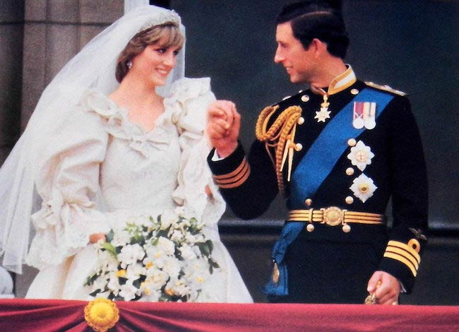 Princess Diana during her wedding with Prince Charles at Buckingham Palace on July 29, 1981