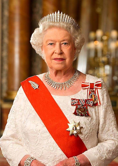 Queen Elizabeth II in the Blue Room of Buckingham Palace wearing a diamond fern brooch
