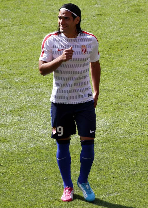 Radamel Falcao during a warm-up session for AS Monaco at the 2014 Emirates Cup
