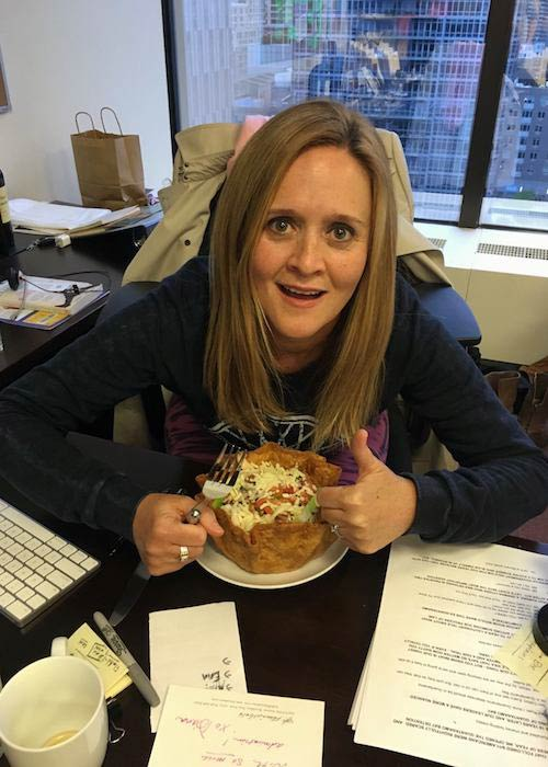 Samantha Bee pictured with a taco bowl in May 2016