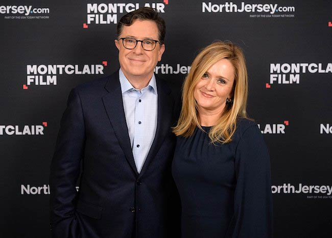 Samantha Bee with Stephen Colbert on his show 'The Late Show with Stephen Colbert' in December 2017
