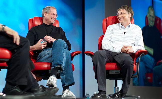 Steve Jobs and Bill Gates during an interview with Walter Mossberg and Kara Swisher in California in 2007