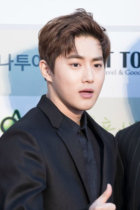 Suho at Gaon Chart K-pop Awards red carpet in February 2016