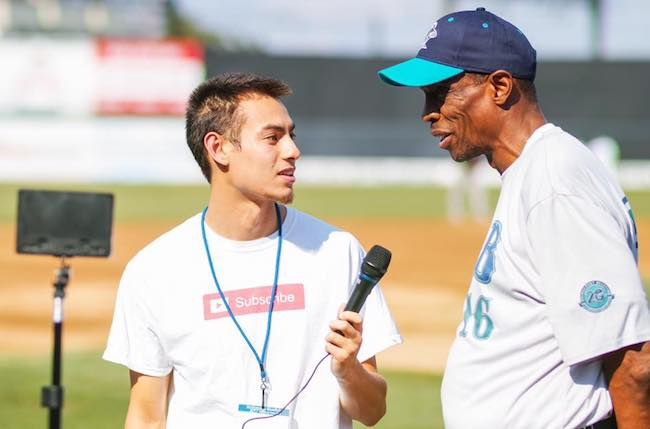Tyler Boronski interviewing Doc Gooden at the Ballpark at Harbor Yard in Bridgeport CT before the start of the MLB Legends Exhibition Game in August 2017