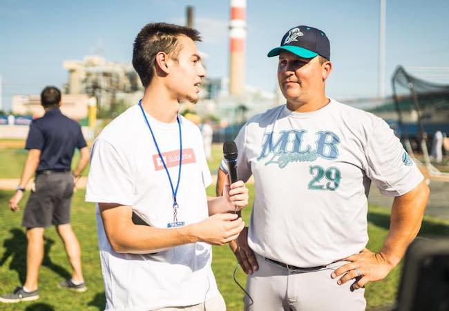 Tyler Boronski interviewing Keith Foulke at the Ballpark at Harbor Yard in Bridgeport CT before the start of the MLB Legends Exhibition Game in August 2017