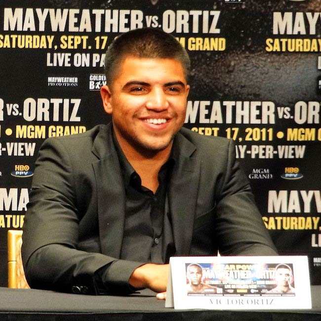 Victor Ortiz speaking with media during a press conference for the fight against Floyd Mayweather, Jr. in 2011