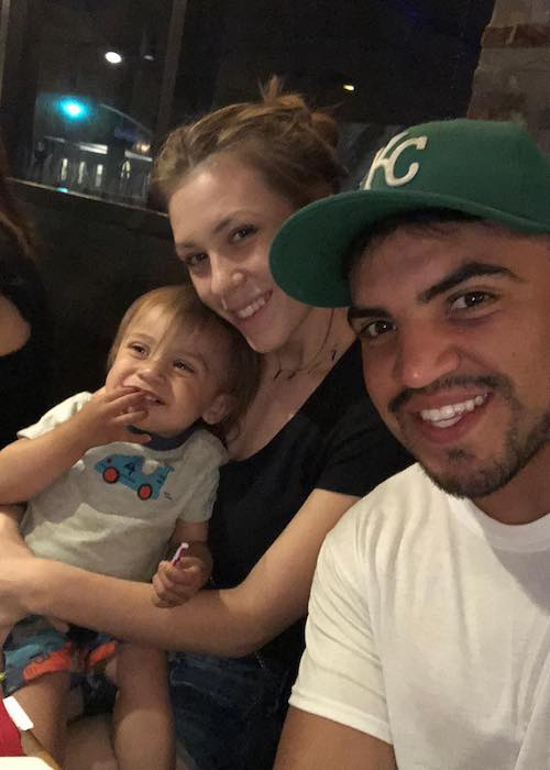 Victor Ortiz with partner Deborah Mather and their child Royal in June 2018