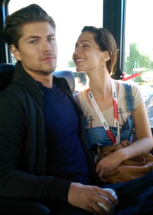 Amadeus Serafini in an Instagram image with Carmen Nicole in a patrybus during Comic-Con in July 2015