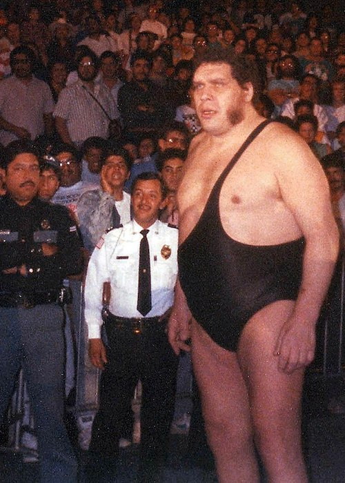 André the Giant photographed while walking towards the ring in the late 1980s
